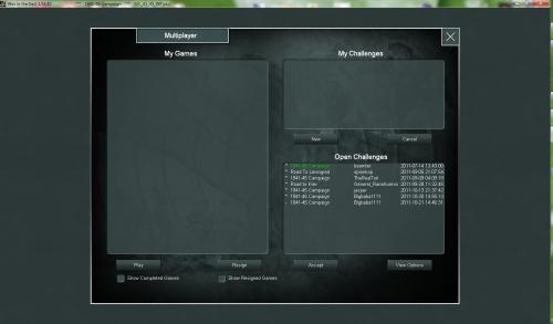 il nuovo sistema PBEM+ basato sui server della Siltherine. Qui si possono creare nuove partite oppure accettare quelle aper
