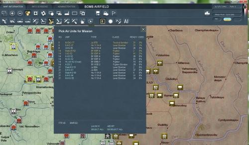 schermata di selezione delle unità aeree per un attacco. La parte aerea è quella più deludente di WITE.