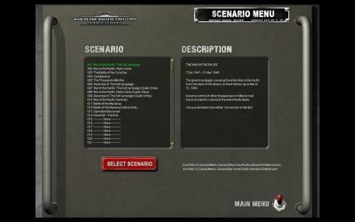 La lista degli scenari presenti con l'attuale versione del gioco. Si nota l'assenza di un tutorial.