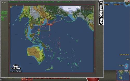 Una visione d'insieme dell'immensa mappa di gioco: si va dalla costa occidentale degli USA all'India, con l'inclusione dell'Australia fino alle Aleutine, oltre alla Cina...