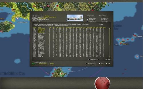 Lista dei piloti di uno squadrone. Si può arrivare a gestire ogni singolo pilota, cosa del tutto inusuale per un gioco di questa scala.