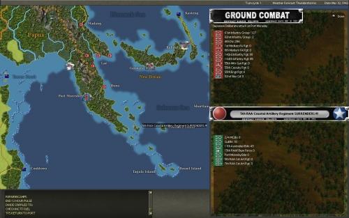 Si cambia la storia: la guarnigione alleata a Port Moresby, ormai circondata, si arrende alle forze giapponesi dopo l'ultimo vittorioso assalto.