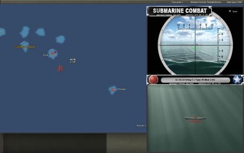 Il Flying Fish tenta di evitare le bombe di profondità sganciate dalla corvetta giapponese a largo di Truk.