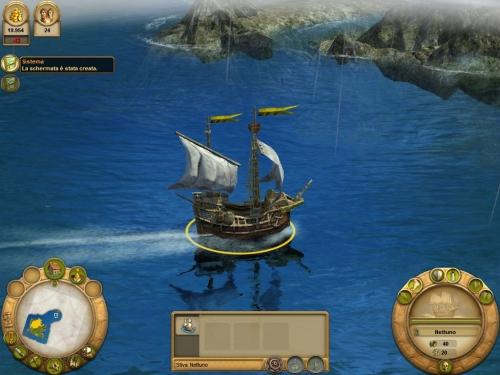 La mia piccola nave commerciale si dirige verso un'isola