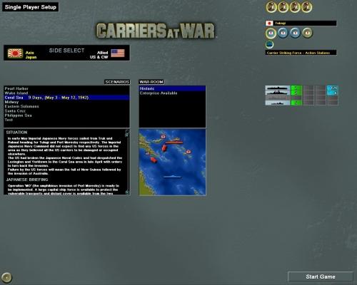 """La schermata con la scelta dello scenario: da notare la presenza della """"variante"""" allo scenario storico che prevede la presenza di una portaerei americana in più"""