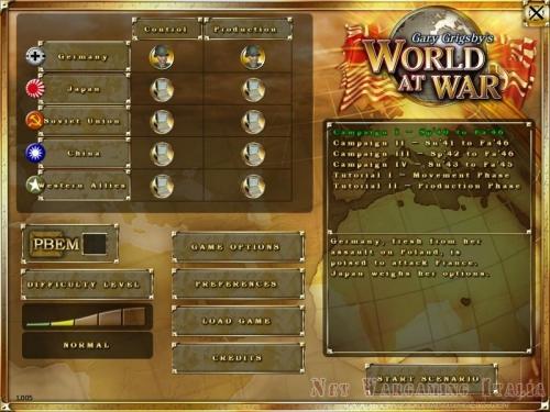 La schermata iniziale dove scegliere nazione e scenario da giocare.