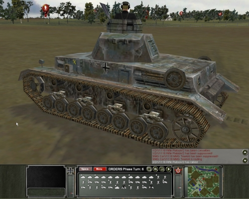 vista dalla torretta di un Panzer tedesco. L'inquadratura consente di ammirare l'ottima resa grafica dei modelli dei veicoli presenti in PCK
