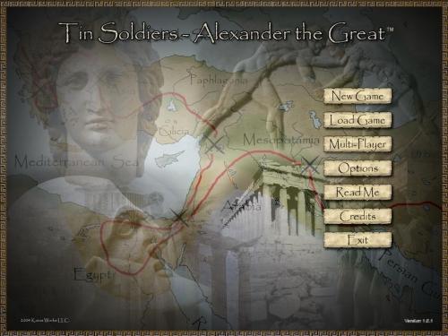 La schermata iniziale del gioco. L' interfaccia di gioco ha uno stile semplice ma accattivante.