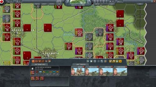 i panzer tedeschi sfondano lo schieramento meridionale delle truppe sovietiche. Le pedine mostrano i simboli NATO.
