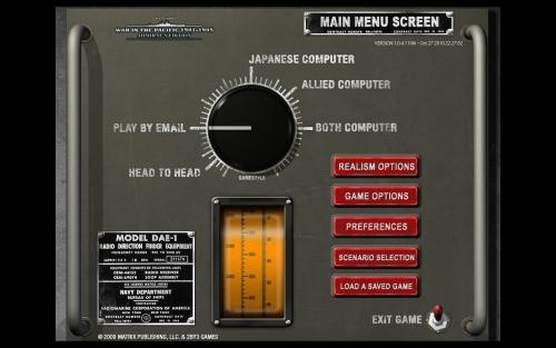 Il menu principale del gioco, praticamente identico a WITP
