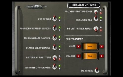 Ecco l'elenco delle principali opzioni selezionabili ad inizio partita
